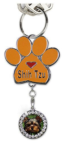 Shih Tzu Keychain Charm Paw Print with Detachable Photo Frame Chrome Metal 3.5 Inch