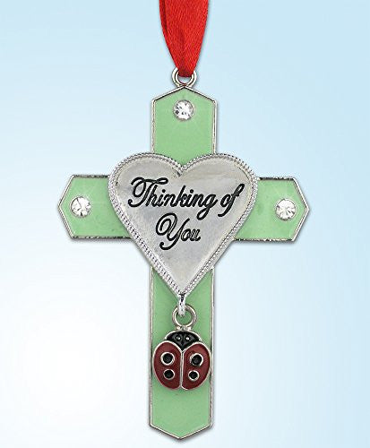 Thinking of You Jeweled Hanging Ornament Cross with Ladybug Charm(2940)