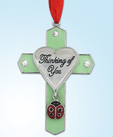 Thinking of You Jeweled Hanging Ornament Cross with Ladybug Charm