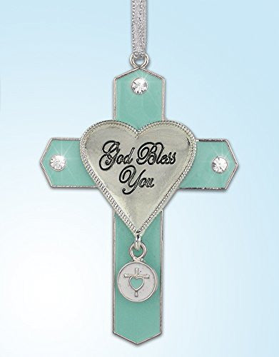 God Bless You Jeweled Hanging Ornament Cross with Cross Charm Metal 3 Inch