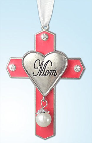 Mom Cross - Pink Cross Ornament with Silver Hear Engraved Mom(2942)