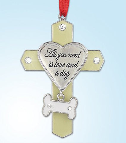 Dog Lovers Jeweled Memorial Hanging Ornament Cross with Bone Charm