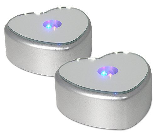 LED Base - Heart Shaped LED Bases - Set of 2 - Merchandise Display Base - Mirrored Top - Color Changing Lights - Heart Shaped Lights