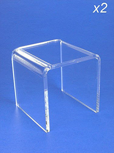 Acrylic Display Stand Risers Premium 4 Inch High Set of 2