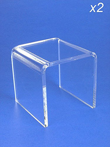 Acrylic Display Stand Risers Premium 4 Inch High Set of 2 (1374-4)