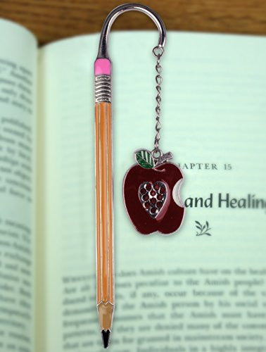 Teacher Bookmark - Apple Bookmark with Jewels - Pencil Bookmark - Teacher Gift - Gifts for a Teacher - Back to School(2972)