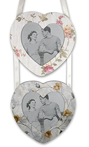 Heart Shaped Double Hanging Wall Frames with Vintage Flower Art