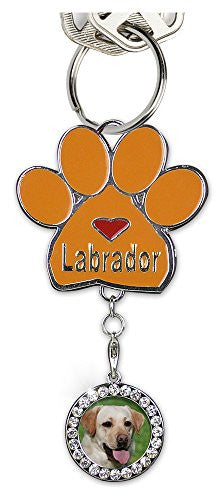 Labrador Keychain Charm Paw Print with Detachable Photo Frame Chrome Metal 3.5 Inch
