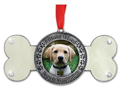 Pet Remembrance - Dog Photo Ornament - Dog Bone Design