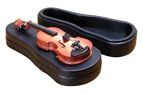 Violin Jewelry Box Instrument Resting on Black Case
