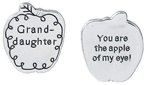 Pocket Token Charm Gift for Granddaughter - You Are the Apple of My Eye! - Apple Shaped Engraved Metal - 1.25 Inch