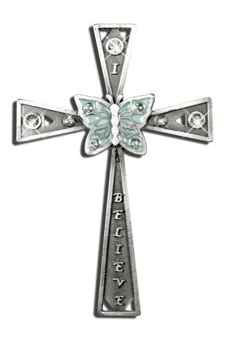 I Believe Cross with Inspirational Message Vintage Finish