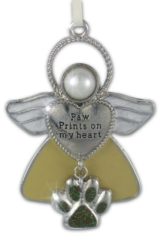 Angel Ornament - Pet Remembrance Angel - Paw Prints on My Heart