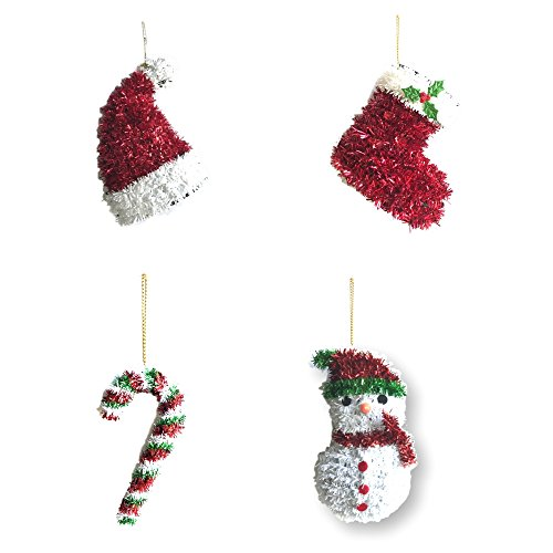 Classic Christmas Ornament Pack of 4 assorted glittered ornaments Santa boot, Santa hat, Snowman and Candy Cane Red, Green and White Xmas Decorations