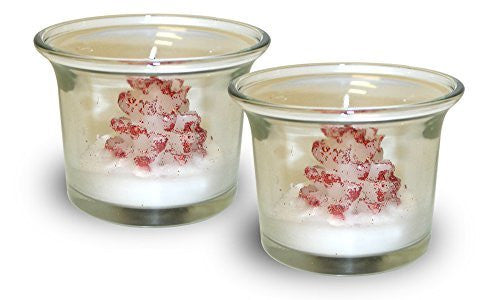 Christmas Tree Candles - Set of 2 Snow Coated Red Christmas Tree Candles with Glass Holders(9400)