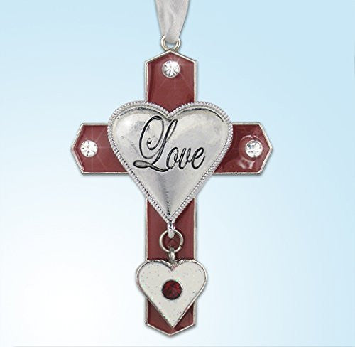 Love - Red Cross with Glittery White Heart Charm