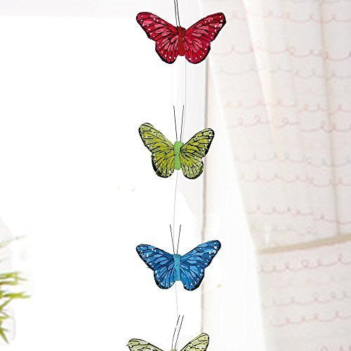 Butterfly Hanging Garland with Feather Wings - Teenage Girl Room Decor - Baby Nursery Window Treatment - Baby Girl Shower Gift - Patio Party Decoration Artificial 4 Inch Wingspan 42 Inch Long String(3612)
