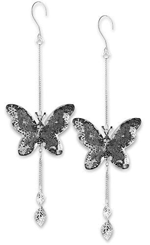 Hanging Butterfly Set - Set of 2 Metal Butterflies with a Filigree Flower Design - Butterfly Decorations - 14 Inch long