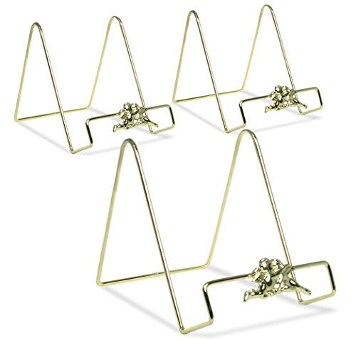 Wire Easel Plate Display Stand Holders - Smooth Brass Metal with Cherub Angel Figures - 6 Inch - Pack of 3(1341-6)