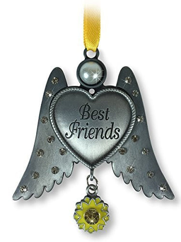 Best Friends Ornament - Pewter Finish Angel Wings with Heart Ornament - Jeweled Wings with a Sunflower Charm - Friendship Ornament