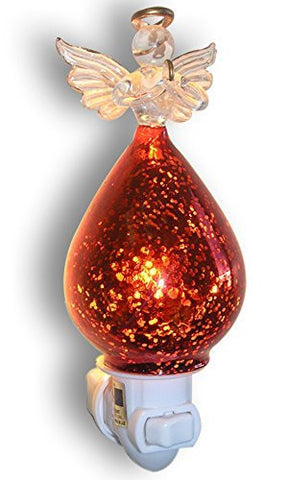 Praying Angel Nightlight - Glass Angel with Red C Dress Night Light - Guardian Angel - Angel Decorations