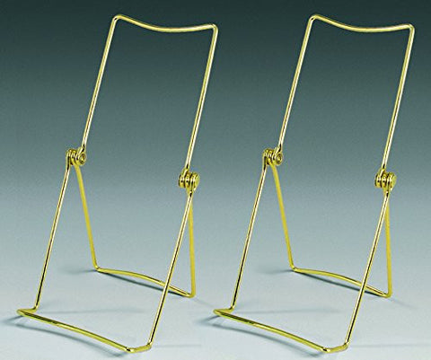 Brass Metal Easel Display Stand Plate Holder Set of 2