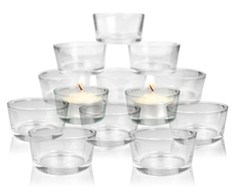 Glass Tea Light Candle Holders - Set of 24 Clear Glass Holders