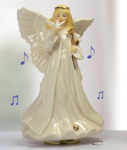 Sympathy Angel Revolving Music Box - Porcelain Angel Figurine