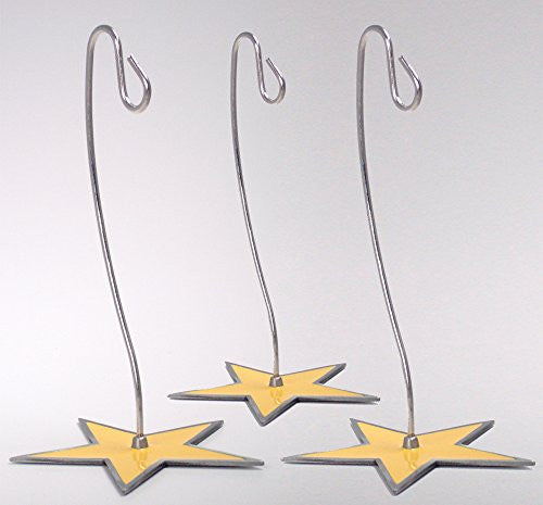 Chrome Ornament Stand with Star Shaped Base - 6 Inch - Pack of 3