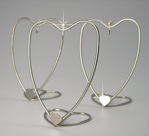 Heart Shaped Ornament Display Stand Home Decorative Displayer Brushed Silver Metal Wire - 4 Inch - Pack of 3