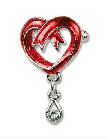 Remembrance Pin Red Ribbon Heart Shape Teardrop Jeweled Accents