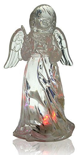 LED Lighted Angel Figurine - Clear Acrylic Color Changing Angel Holding a Star Wand Statue Decoration - 7 Inch