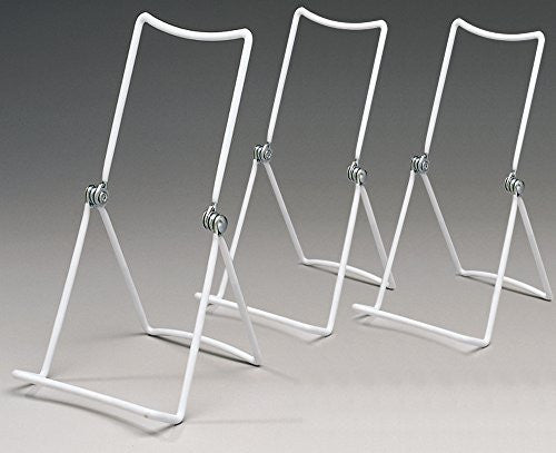 Metal Wire Easels White Vinyl Coated Display Plate Stand Holder Hinged Adjustable Multi Position - Set of 3(1327-W)