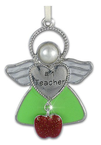 Teacher Angel Hanging Ornament with Apple Charm Gift for Teacher Appreciation Thank You - Jeweled and Enameled Metal - 2-1/2 Inch