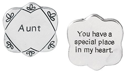 Pocket Token Charm Gift for Aunt - You have a Special Place in My Heart - Flower Shaped Engraved Metal - 1.25 Inch(2037)