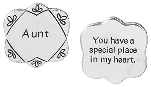 Pocket Token Charm Gift for Aunt - You have a Special Place in My Heart - Flower Shaped Engraved Metal - 1.25 Inch