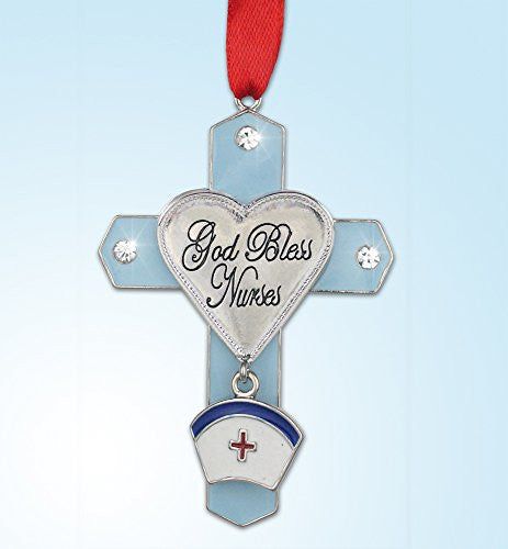 God Bless Nurses Jeweled Hanging Ornament Cross with Hat Charm Metal