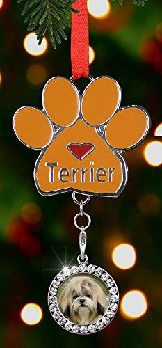 Terrier Paw Print Christmas Tree Ornament Dog Charm with Detachable Photo Frame Chrome Metal 3.5 Inch(2388)