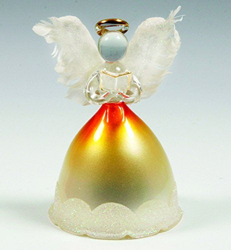Lighted Angel Figurines - LED Glass Angel Statue with Real Feather Wings and Holding a Hymnal Book - Christmas Angels