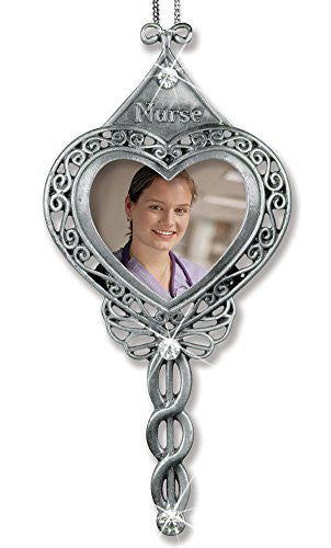 Nurse Heart Shaped Jeweled Photo Ornament with Caduceus Metal Filigree