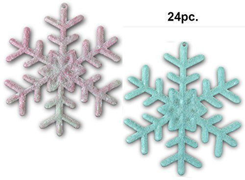Pink and Purple Snowflakes - Frosted Pink and Frosted Purple Snowflakes(3555)