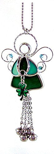 Irish Angel Suncatcher Stained Glass with Shamrock and Bell Chimes