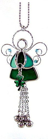 Irish Angel Suncatcher Stained Glass with Shamrock and Bell Chimes(7164)