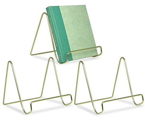 "6"" Gold Wire Easel Plate Holders - Set of 3"