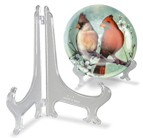Clear Frosted Plastic Easel Folding Plate Holder Display Stand - 8 Inch - Set of 2