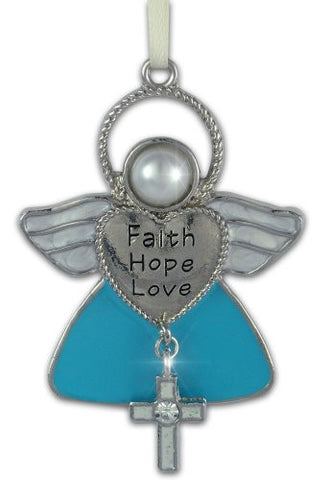 FAITH HOPE LOVE Angel Metal Hanging Ornament with Cross Charm - 2.5 Inch