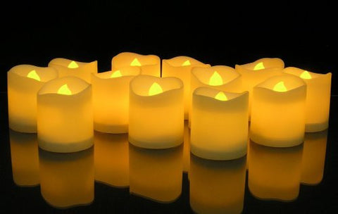 LED Lighted Flickering Votive Style Flameless Candles - Set of 12(9806)