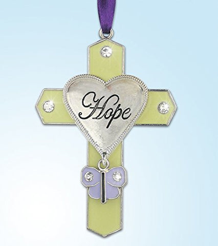Hanging Cross with Engraved Hope Heart - Purple Butterfly Charm with Crystals