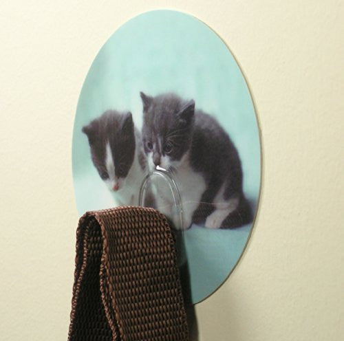 Cat Utility Hooks for Bedroom Bathroom Shower Back to School Locker Kitten Wall Decoration (Pack of 2)(5503)