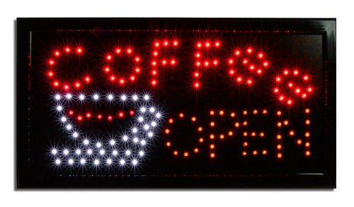 LED Lighted Coffee Open Business Sign